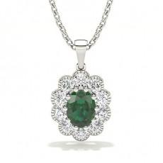 Bezel Setting Halo Emerald Pendant