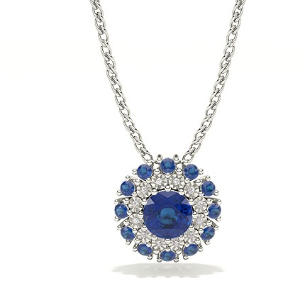 Illusion Plate Prong Setting Halo Blue Sapphire Pendant