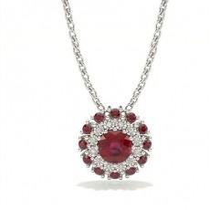 Round Ruby Diamond Pendants