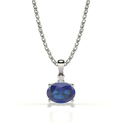 Zinkeneinstellung Solitaire Blue Sapphire Pendant