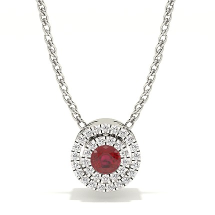 Prong Setting Halo Ruby Pendant