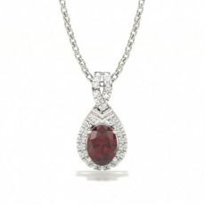 White Gold Ruby Diamond Pendants