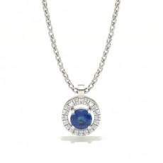 White Gold Sapphire Diamond Pendants