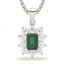 Smaragd Halo Anhänger Halsketten
