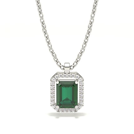 Prong Setting Halo Emerald Pendant