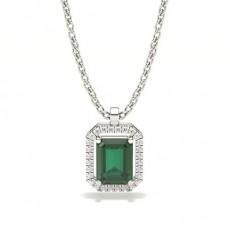 Prong Setting Halo Emerald Pendant