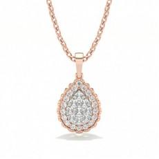 Rose Gold Cluster Diamond Pendants Necklaces
