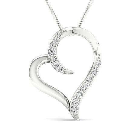 Micro Prong Diamant Herz Anhänger