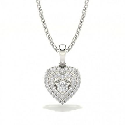 Heart shaped Shared Prong Setting Pendant