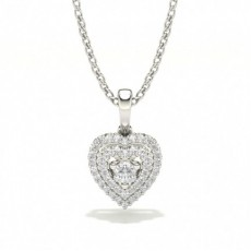 Round Heart Diamond Pendants Necklaces