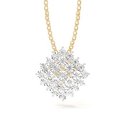 Illusion Plate Prong Setting Round Diamond Cluster Pendant