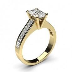 Emerald Yellow Gold Side Stone Diamond Engagement Rings