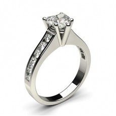 Heart White Gold Side Stone Engagement Rings