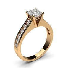 Asscher Rose Gold Side Stone Engagement Rings