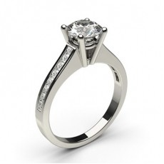 4 Prong Setting Medium Side Stone Engagement Ring (Available from 0.20ct. to 3.00ct.)