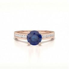 Or Rose Bagues de fiancailles Saphir Bleu