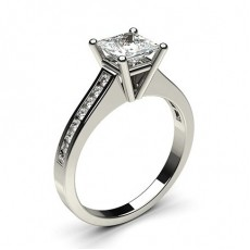 White Gold Round Side Stone Diamond Engagement Ring - CLRN1_09