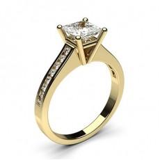 White Gold Round Side Stone Diamond Engagement Ring - CLRN1_09