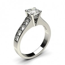 Cushion White Gold Side Stone Diamond Engagement Rings