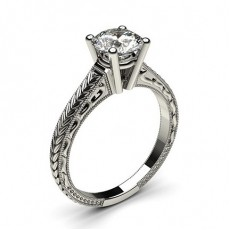 4 Prong Setting Medium Plain Engagement Ring (Available from 0.20ct. to 3.00ct.)