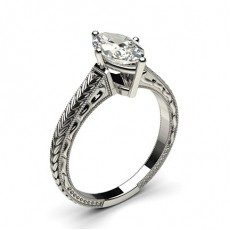 White Gold Round Vintage Diamond Engagement Ring - CLRN1_04