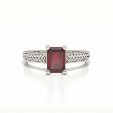 Emerald Shaped Ruby Vintage Diamond Engagement Ring