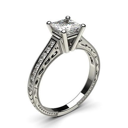 White Gold Princess Vintage Diamond Engagement Ring