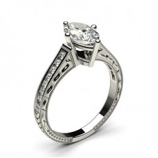 White Gold Princess Vintage Diamond Engagement Ring - CLRN1_19