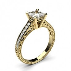 White Gold Oval Vintage Diamond Engagement Ring - CLRN1_18