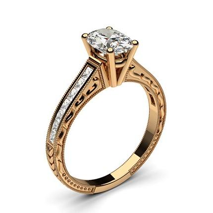 White Gold Oval Vintage Diamond Engagement Ring