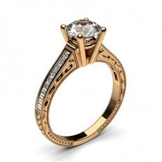 Rose Gold Round Vintage Diamond Engagement Ring (Available from 0.20ct. to 3.00ct.)