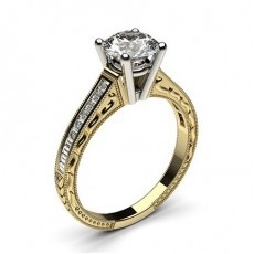 4 Prong Setting Medium Studded Engagement Ring - CLRN1_17