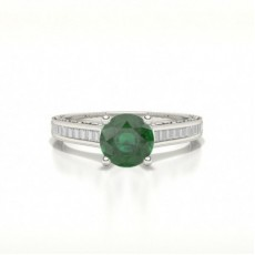 Round Emerald Diamond Engagement Rings