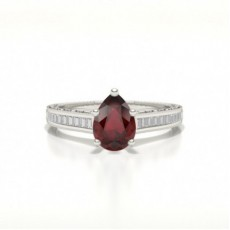 Pear Ruby Diamond Engagement Rings
