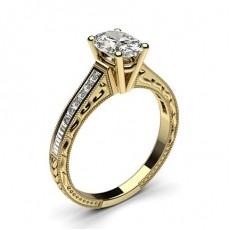 Oval Or Jaune Vintage Bague de fiançailles