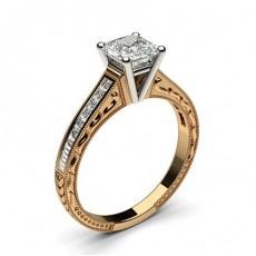 4 Prong Setting Medium Studded Engagement Ring - CLRN1_17