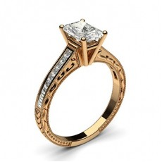 Rose Gold Round Vintage Diamond Engagement Ring - CLRN1_17