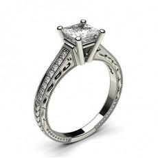 4 Prong Setting Medium Studded Engagement Ring - CLRN1_20