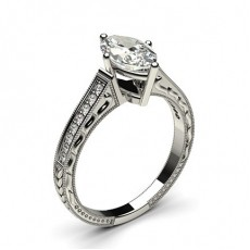 White Gold Heart Vintage Diamond Engagement Ring - CLRN1_20