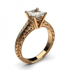 Asscher Rose Gold Classic Solitaire Engagement Rings