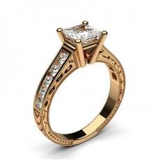 Rose Gold Princess Vintage Diamond Engagement Ring - CLRN1_14