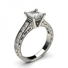 Diamant Verlobungsring in einer Krappenfassung mit großen Schulter Diamanten - CLRN1_14
