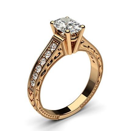 4 Prong Setting Large Studded Engagement Ring