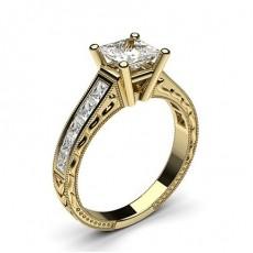 Diamant Verlobungsring in einer Krappenfassung mit großen Schulter Diamanten - CLRN1_15