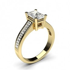 Radiant Yellow Gold Side Stone Diamond Engagement Rings