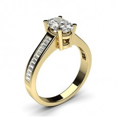 Oval Yellow Gold Side Stone Diamond Rings