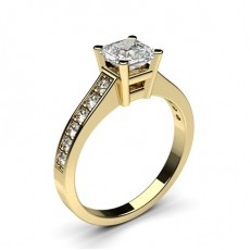 Asscher Yellow Gold Side Stone Engagement Rings