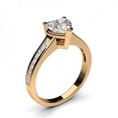 Heart Rose Gold Side Stone Engagement Rings