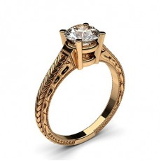 Rose Gold Round Vintage Diamond Engagement Ring - CLRN2_04