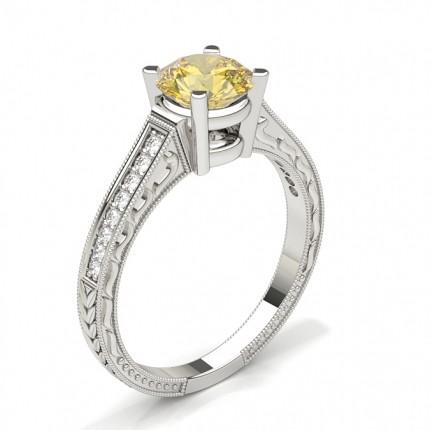 Gelber Diamant Seitenstein Vintage Verlobungsring
